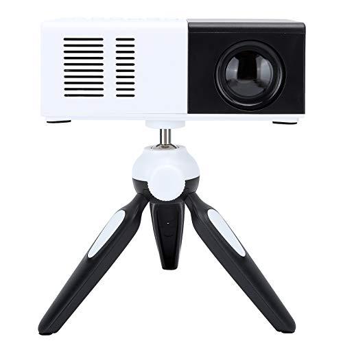 Goshyda Mini proyector, máquina de proyección de Ajuste multiángulo LED portátil con Soporte, para Hone Bedroom Office Outdoor(Enchufe de la UE)