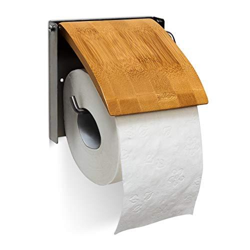 Relaxdays Porte-rouleau de papier hygiénique en bambou et inox HxlxP : 13,5 x 14,5 x 13,5 cm support mural salle de bain Toilette, nature