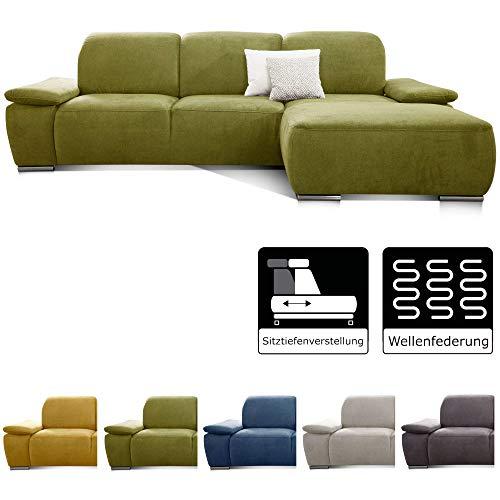 CAVADORE Ecksofa Tabagos / Große Couch mit Longchair rechts / Modernes Sofa mit Sitztiefenverstellung/ Verstellbare Rückenlehne / 283 x 85 x 187 /Grün