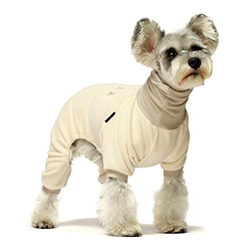 Fitwarm Embroidery Dog Clothes Turtleneck Thermal Fleece Puppy Pajamas Doggie Outfits Cat Onesies Jumpsuits Beige Large