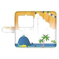 スマQ BASIO3 KYV43 国内生産 ミラー スマホケース 手帳型 KYOCERA 京セラ ベイシオ3 【C.オレンジ】 クジラ 海 砂浜 イラスト ami_vd-0229