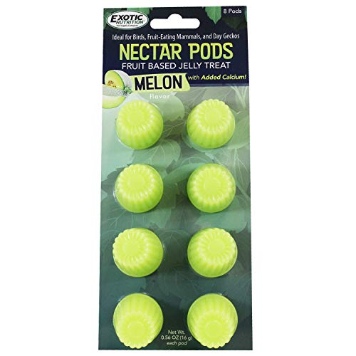 Nectar Pods (Melon) - Calcium-Fortified Jelly Fruit Treat - Sugar Gliders, Marmosets, Squirrels, Parrots, Cockatiels, Parakeets, Lovebirds, Conures, Hamsters, Day Geckos, Kinkajous & Other Small Pets
