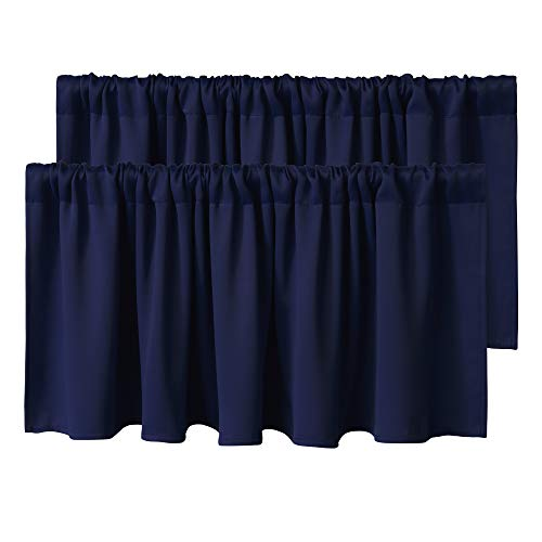 WONTEX Kitchen Curtains Valances, 42 x 18 inch Long, Navy Blue, Set of 2 Pieces - Short Thermal Blackout Curtains for Small Window, Room Darkening Rod Pocket Cafe Curtain Panels