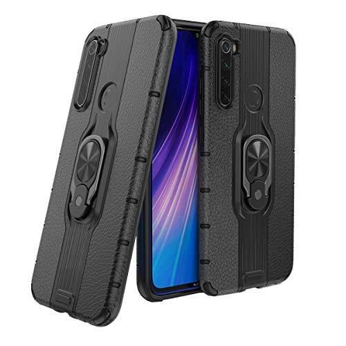KANSI Compatible para Funda Xiaomi Redmi Note 8 Fundas con Soporte de Anillo + Vidrio Templado Bumper Resistente y Prueba de Golpes - Negro