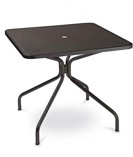 EMU Table pour extérieur, 80 x 80 cm, en fer galvanisé et verni à la poudre, couleur fer antique fantaisie 22 – Produit fabriqué en Italie