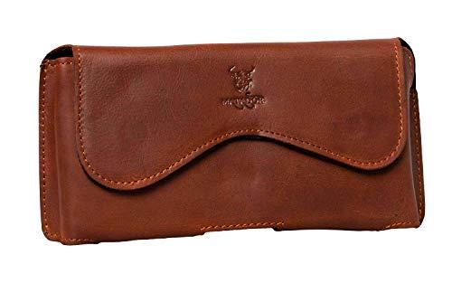 MATADOR Handytasche Echt-Leder Smartphone-Tasche Kompatibel mit Samsung A71 / Xcover PROQuertasche mit Gürtelclip/Gürtelschlaufe (Rost Braun)