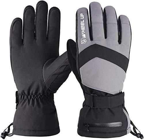 Xingchen 1 par de guantes de invierno cálidos para hombres y mujeres al aire libre a prueba de viento guantes de esquí guantes de snowboard transpirables (color: negro y gris, tamaño: XL)