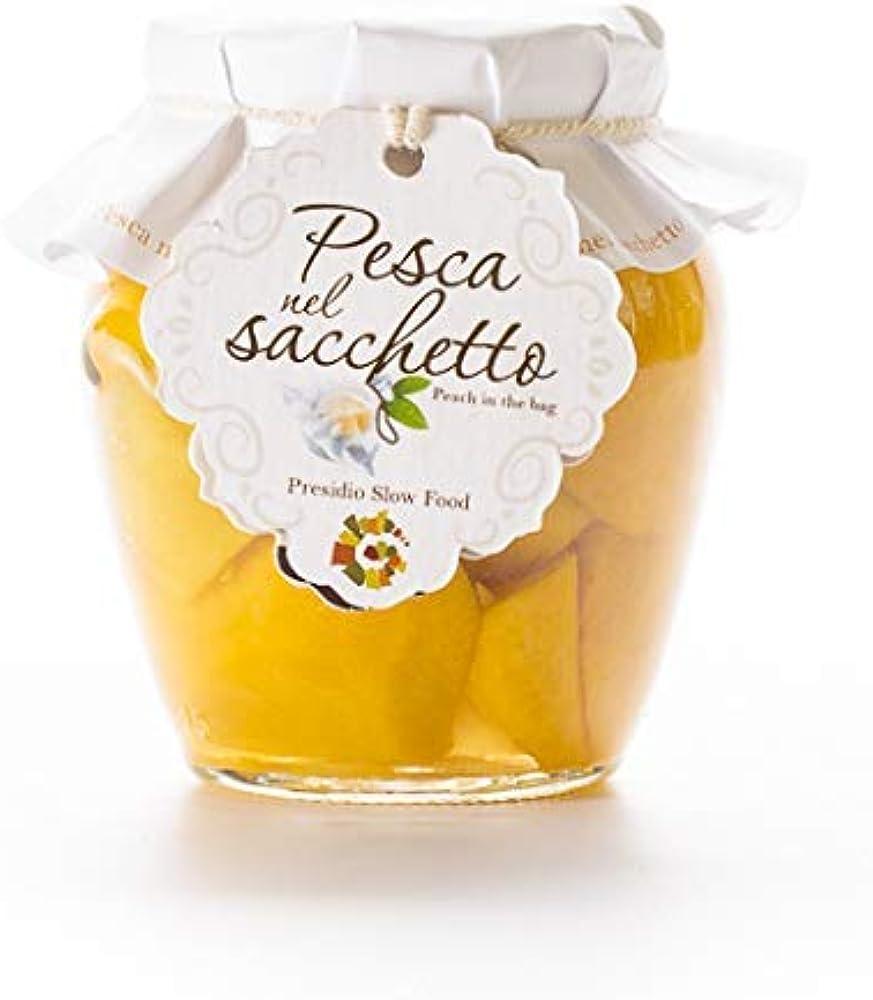 Pesca nel sacchetto presidio slow food, 3 barattoli x 300 g,pesche sciroppate,prodotto artigianale siciliano