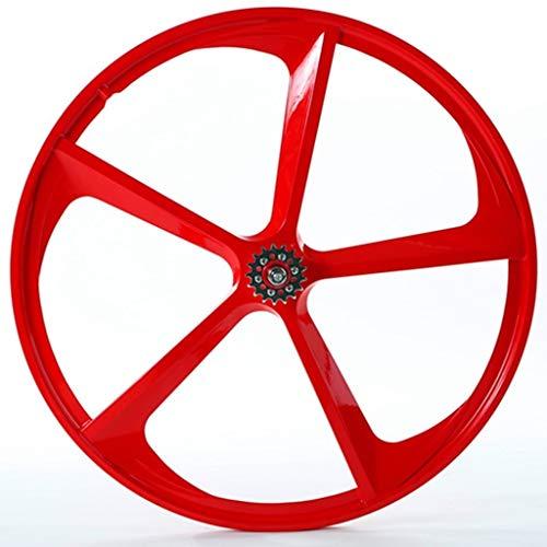 700C magnesio y titanio Llanta de aleación Conjunto de 5 palas Integrado ruedas ligeras fija del engranaje bicicletas Accesorios de modificación del lanzamiento rápido Frenos de disco Frenos / V (rued