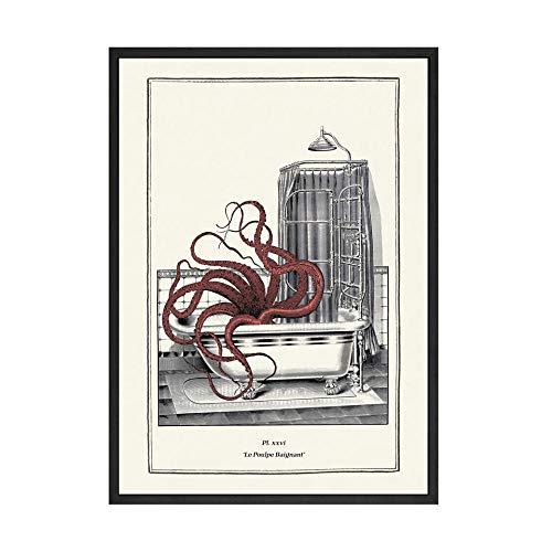 zxddzl Retro Oktopus drucken Spaß Toilette Wandkunst Garderobe Retro Steampunk Badezimmer Wandbild Dekoration Poster Leinwand Malerei 60 x 85 cm No Frame