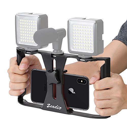 Zeadio Smartphone Video Rig, Kameratechnik Aufnahme vlogging Rig Handy, Handy Filme Halterung Stabilisator für Video Maker Filmemacher videofilmer - Für die meisten 10,2 cm zu 17,8 cm Smartphone