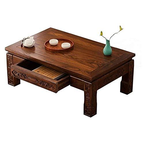 SXDY massieve salontafel van massief hout, Japanse tafel met schuifladen, woonkamer, salontafel, laptop, tafel, werktafel, voor woonkamer