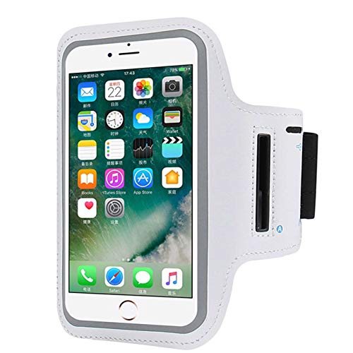 Cell Phone Armband Compatible with iPhone X Xs,8 7 6 6S 8, 7,6S,SE,5S,5C,5,4S,4,GalaxyS9,S8,S7,S6,Phone Models Diagonal 4.0'~5.2'. Water Resistant Breathable Phone Armband for Running, Biking -Silver