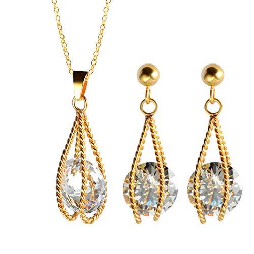 Burenqi Fashion Sliver en goud bruiloft verloving vrouwen kooi sieraden sets roestvrij staal met kristal bedeltje ketting en oorbellen