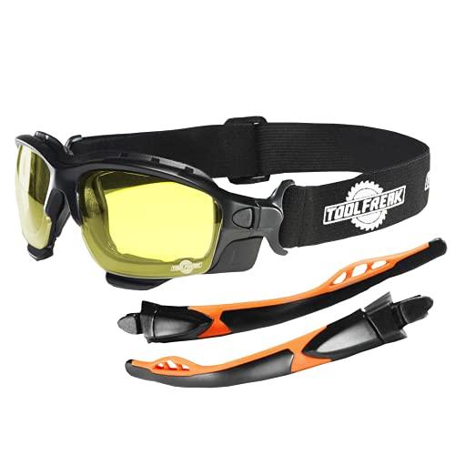 ToolFreak Spoggles Gafas de Seguridad para Trabajo y Deporte, Cristales HD Amarillos, ,Protección contra Rayos UV e Impactos, Acolchado de Espuma, con bolsa