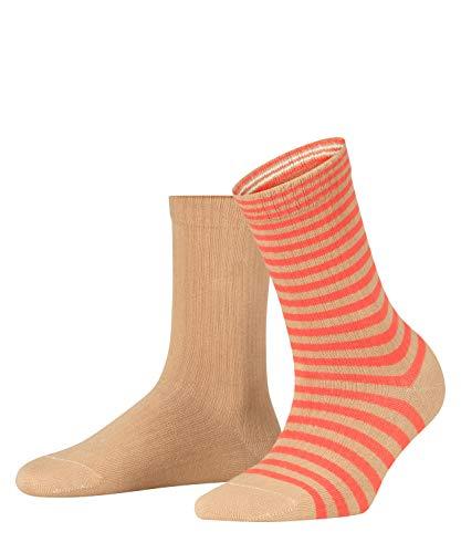 ESPRIT Sporty Stripe 2-Pack, Chaussettes Femme, Coton, Beige (Camel 5038), 35-38 (UK 2.5-5 Ι US 5-7.5), Lot De 2 Paires