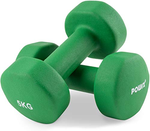 POWRX - Manubri Pesi Neoprene 10 kg Set (2 x 5 kg) + PDF Workout (Verde Scuro)