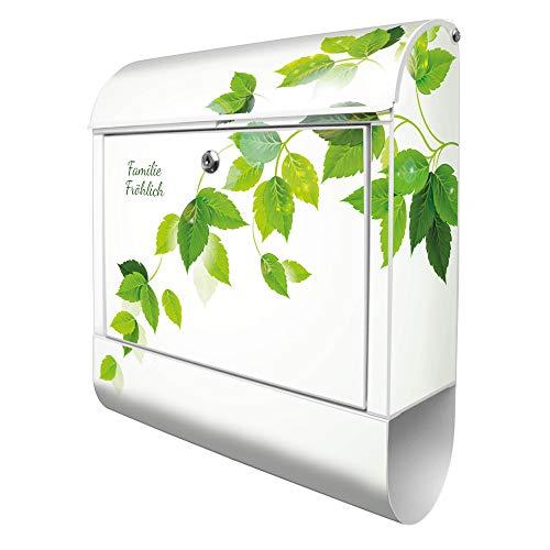 Banjado Design Briefkasten personalisiert mit Motiv WT Blätterranke   Stahl pulverbeschichtet mit Zeitungsrolle   Größe 39x47x14cm, 2 Schlüssel, A4 Einwurf, inkl. Montagematerial