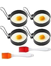 4 styck rund äggring i rostfritt stål kök matlagningsverktyg omelettform non-stick pannkakform och 2 oljeborstar kan användas för pannkakor, hamburgare, omeletter (6-pack)