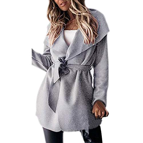 Shirt Luv Woman Long Jackets Long Solid Woolen Coats Double Breasted Warm Blet Outwear Women's Coat Gray L Winter Fall Clothes 2020 Plus Size