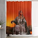 QORTY Shower Curtain Polyester Fabric Waterproof Machine Washable with 12 Hooks 59 x 71 (in)