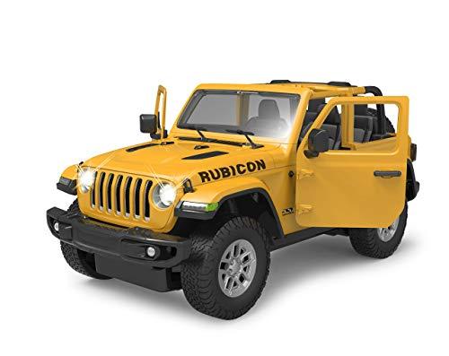 Jamara 405178 Jeep Wrangler JL 1:14 gelb 2,4GHz Tür manuell-offiziell lizenziert, bis 1 Std Fahrzeit, ca. 9 Km/h, perfekt nachgebildete Details, detaillierter Innenraum, LED Licht