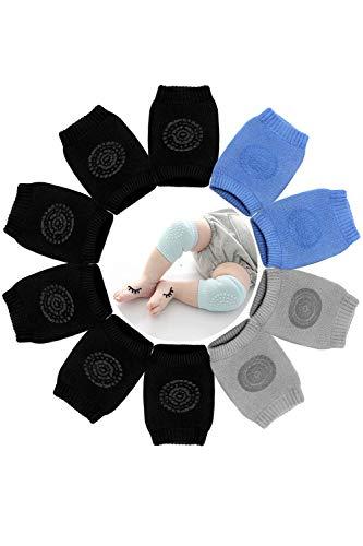 Hocaies Ginocchiere Bambini con Antiscivolo Punti di Silicone 0-24 mesi Ginocchiere per Gattonare Bambino 5 Paia Cotone Scaldamuscoli per bambino. (B01)