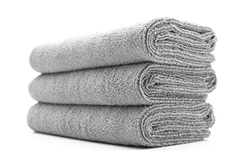 (3-Pack) THE RAG COMPANY 16 in. x 27 in. Sport, Gym, Exercise, Fitness, Spa & Workout Towel - Ultra Soft, Super Absorbent, Fast Drying 320gsm Premium Microfiber (Ice Grey, 16x27)