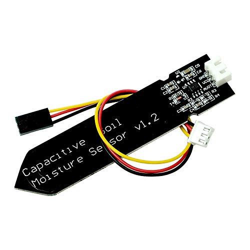 Paradisetronic.com Sensor capacitivo de humedad del suelo, 5V 3.3V Sensor de humedad para la tierra incl. Cable de conexión, salida analógica compatible con Arduino