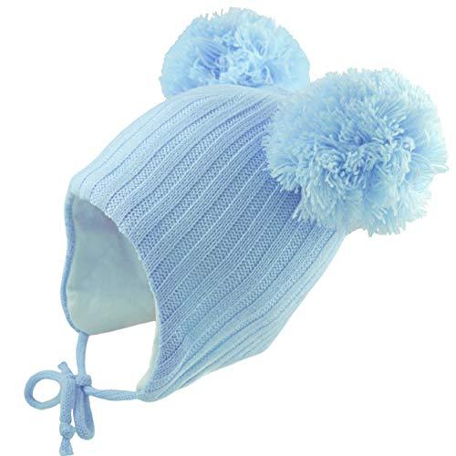 berretto 2 pon pon Pesci Baby Cappello Neonato Invernale con Due PON Pom Sottogola e Paraorecchie 2