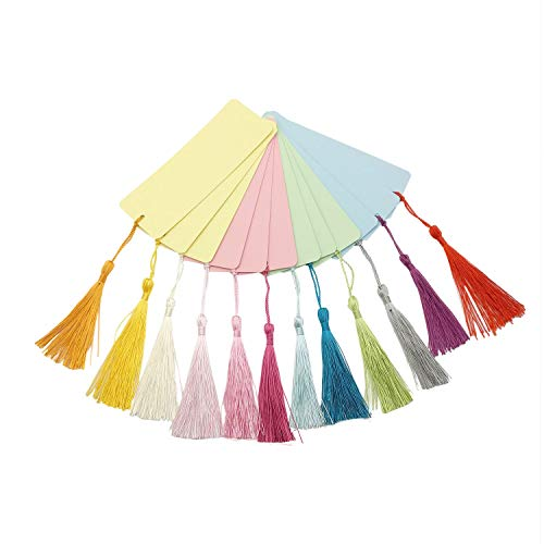 Chris.W 12Pcs Blank Cardstock Bookmarks with 12 Colorful Tassels - Great for DIY Projects and Gifts Tags - 5.5 by 2 inches - with 4 Colors Papers