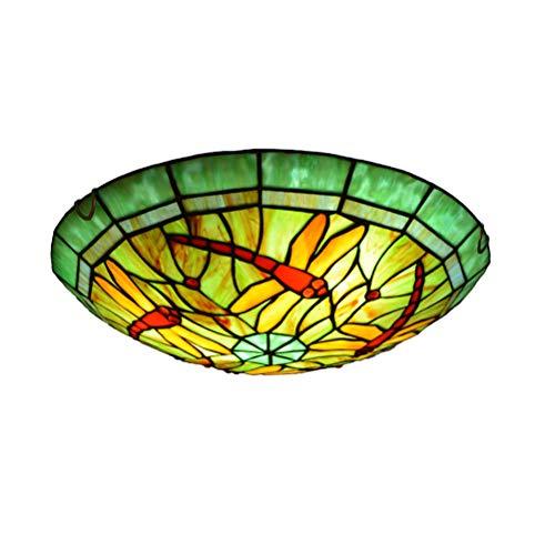 Plafonnier en Verre de Jardin Rétro,Lampe de plafond en verre teinté Pastoral Creative Plafonnier de style Tiffany Appareils d'éclairage pour enfants autour de la lampe pour plafond d'allée de cha