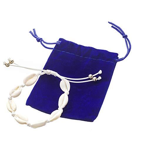 Damen Fußkette mit Muscheln | Muschelkette Handgemacht für Frauen | Muschelkette auch als Armband geeignet | Fußkettchen aus Muschel geliefert mit Schmuckbeutel | Schmuck mit Perlen
