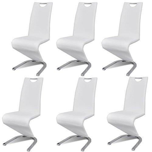 vidaXL Chaise en Simili Cuir Cantilever avec Pieds en Forme de U Blanc 6 pcs