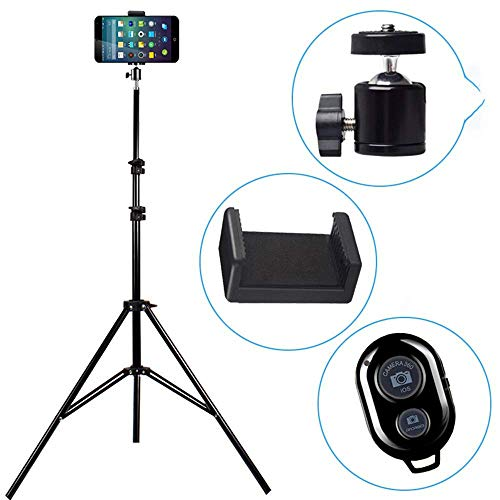XHHWZB Selfie Stick & Tripod, Integrated, Portable All-in-One Professional, Heavy Duty Aluminum, Lightweight, Bluetooth Remote for Apple & Android Devices, Non Skid Tripod Feet, Black