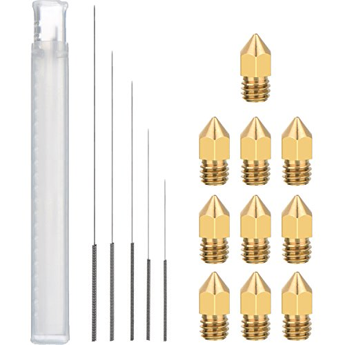 10 Pieces MK8 Nozzle Extruder 5 Sizes and 5 Pieces 5 Sizes 3D Printer Nozzle Cleaning Kit Drill Bits for 3D Printer Nozzle Cleaning