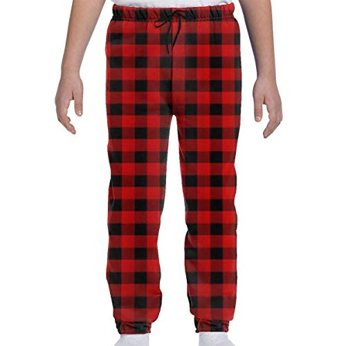 Adolescents Garçons Filles Pantalons de survêtement Jogging Bottom Sports ou Loungewear Pantalons, Red Black Buffalo Check Plaid Pattern