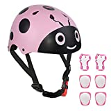 LANOVAGEAR Ladybug Toddler Helmet Knee Elbow Pads and Wrist Guards Adjustable CPSC Kids Bike Helmet for Cycling Skateboard Rollerblading Scooter