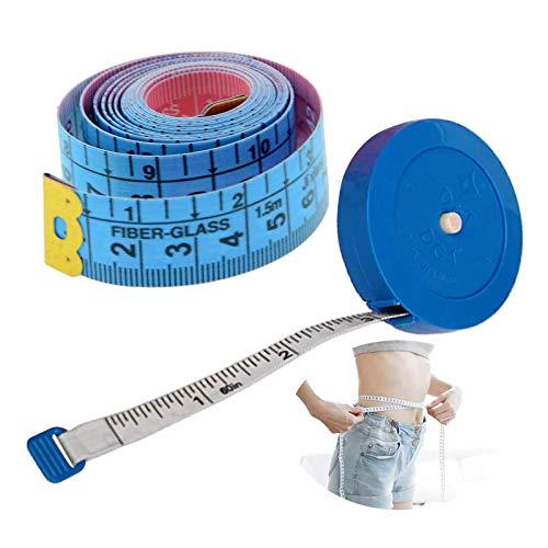 LuLyL 2 pezzi metro a nastro, metro sarto, 1,5 metri / 60 pollici, metro a nastro morbido su misura, retrattile, usato per misurare busto, lunghezza vestiti, altezza del bambino (colore casuale)