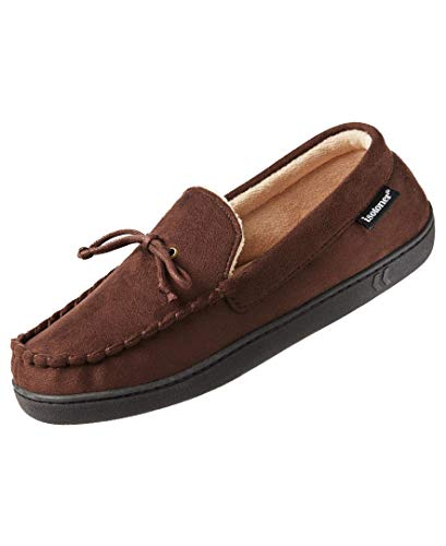 isotoner Men's Microsuede Moccasin Slipper with Cooling Memory Foam for Indoor Outdoor Comfort Dark Chocolate Dark Chocolate 11-12