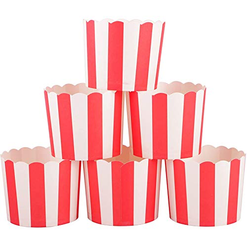 Webake Full Size 6oz Paper Baking Cups Red Cupcake Liners for Popcorn Cupcake, Cupcake Bath Bomb, Muffin Case, Great for Valentine's Day Cupcake Baking Decoration Set of 25 (Red Stripe)