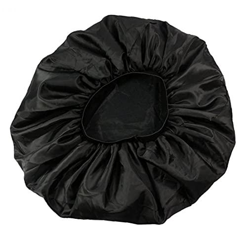 YepYes Mujeres satinados Bonnet Sueño Bonnet Cap Extra Gran Layera Doble Diseño Satin Cap Soft Elastic Pelo Cabello Bonnet Negro