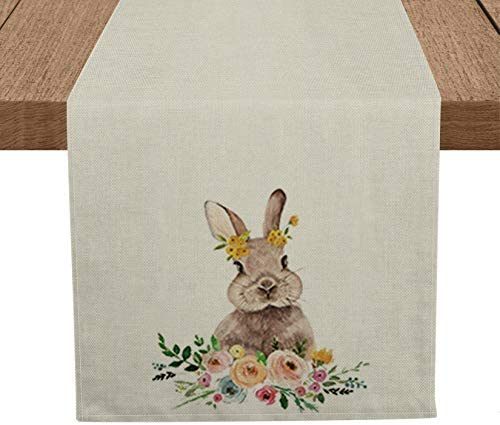 Artoid Mode Easter Bunny Table Runner Seasonal Spring Flowers Easter Holiday Kitchen Dining product image