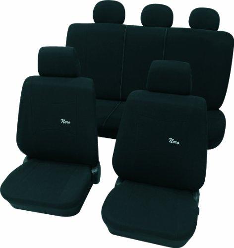 Cartrend 60214 Nero Black Sitzbezug-Komplettset, Schwarz, mit Dokunaht, Seitenairbag-geeignet, 11 Teile