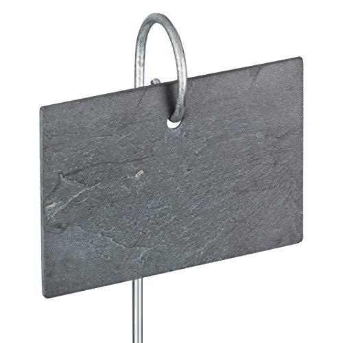 GardenMate® 10er Set Schilder aus Schiefer mit Metallstab 55cm - Stil modern