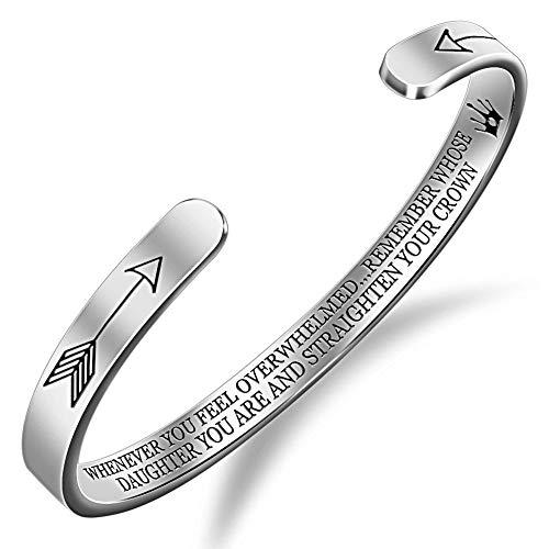 Gleamart Begradigen Sie Ihre Krone Inspirierende Armband Edelstahl Gravierte Geschenke für die Tochter