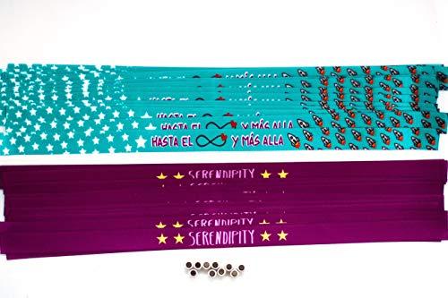 Pulseras personalizadas para bodas, despedidas de soltero, comuniones, cumpleaños | Pulseras de tela personalizadas con frase | Pack de 50 unidades.