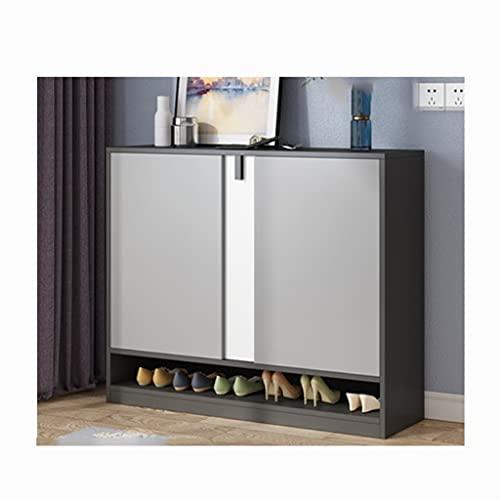 QIFFIY Armario de zapatos Gran capacidad de madera maciza armario de almacenamiento puerta de la entrada del pasillo del dormitorio zapatero y armario de entrada