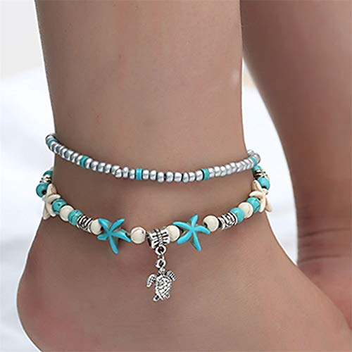 CAVIVI Vintage Starfish Turtle Anklets Pendant Women Girls Multi Layer Shell Beads Ankle Bracelet Sandal Beach Foot Chain Jewelry,Turtle
