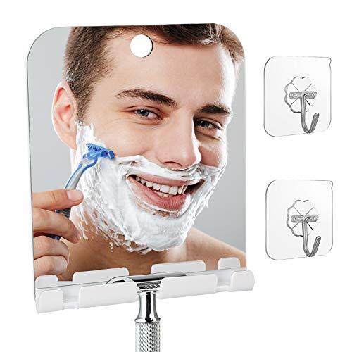 Fogless Shower Mirror, Anti Fog With Shaver holder square Bathroom Shaving Mirror, Fog-Free Wall Hanging Mirror for Bathroom Home Traveling